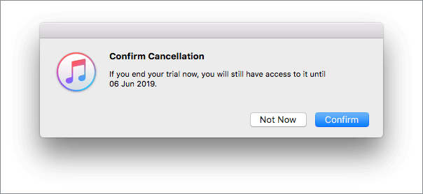 confirm cancellations in itunes app