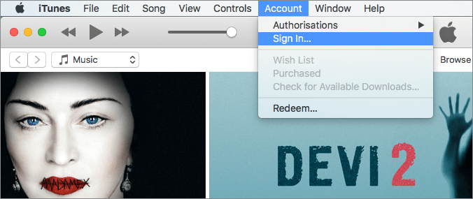 itunes account sign in