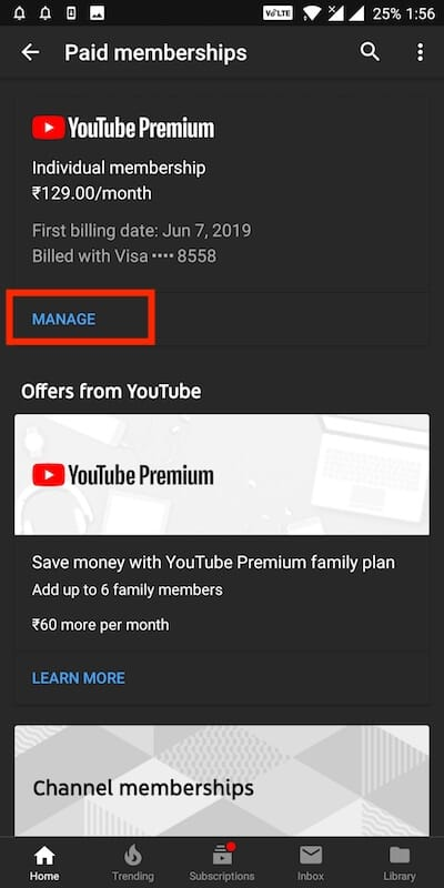 manage youtube premium