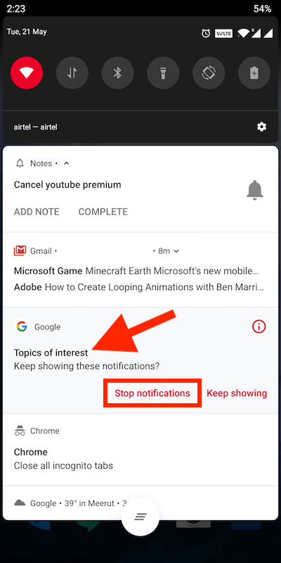 see notification category