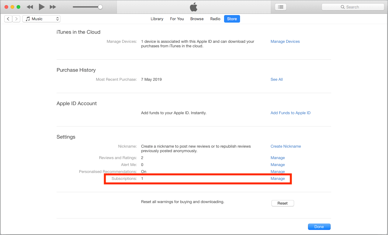 manage itunes subscriptions