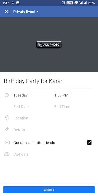 add private event_facebook