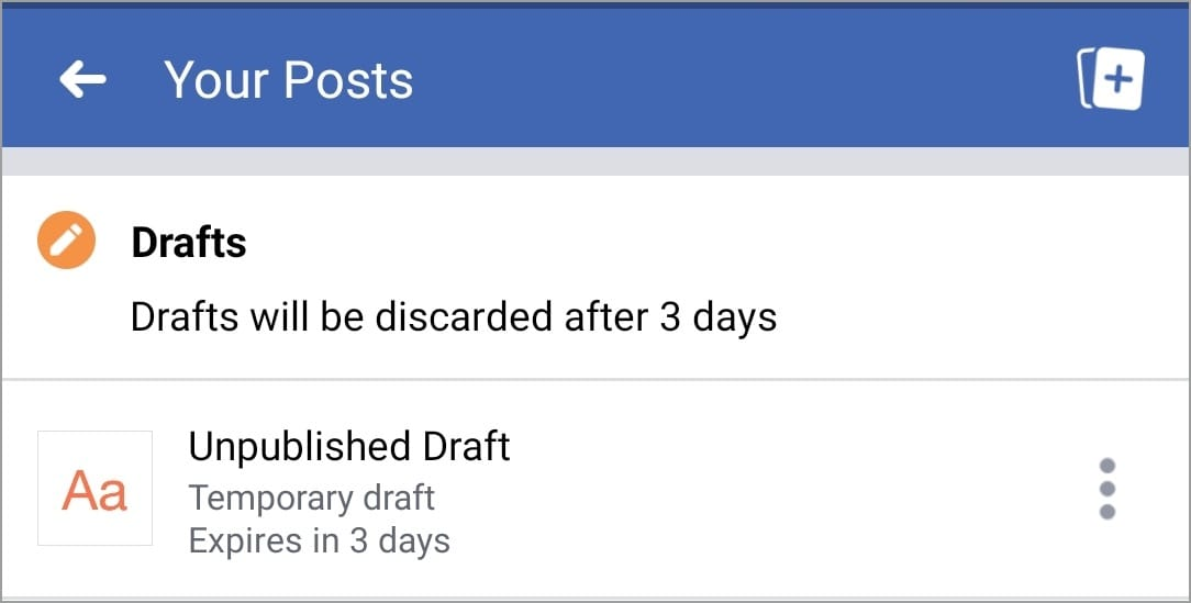 find facebook drafts android