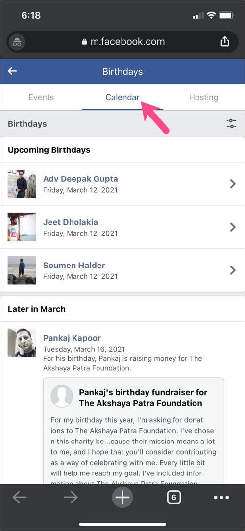 how to find birthdays on Facebook 2021