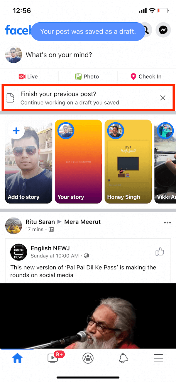 find facebook drafts on iphone