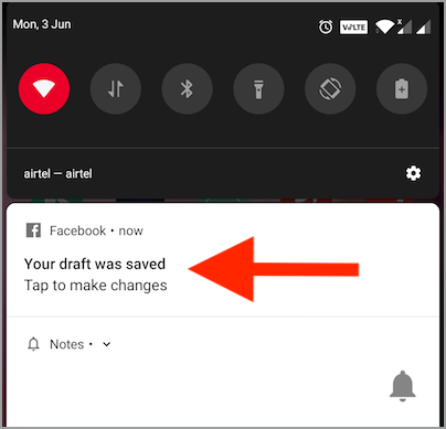 facebook saved draft notification