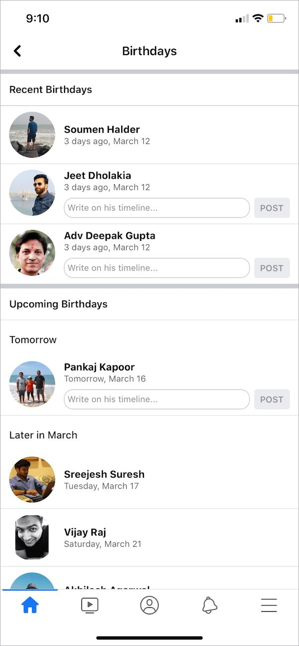 find friends birthday on facebook app