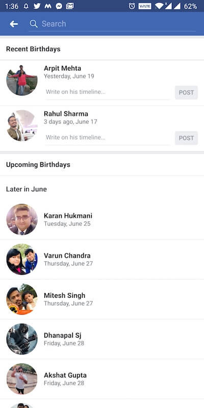 see upcoming birthdays on facebook