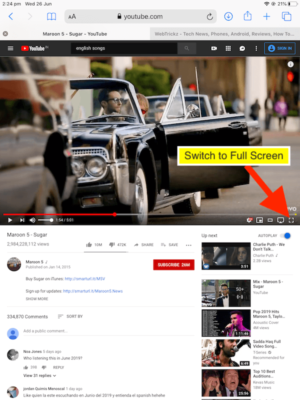 switch to full screen