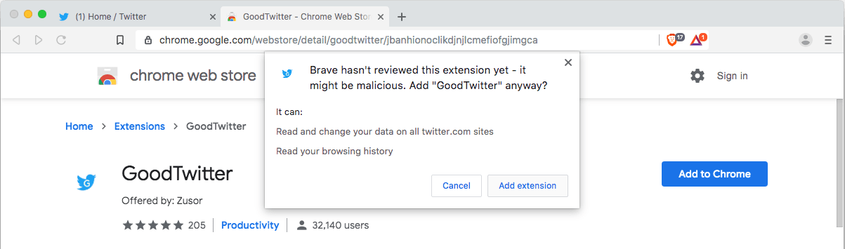 get back to old twitter on brave browser