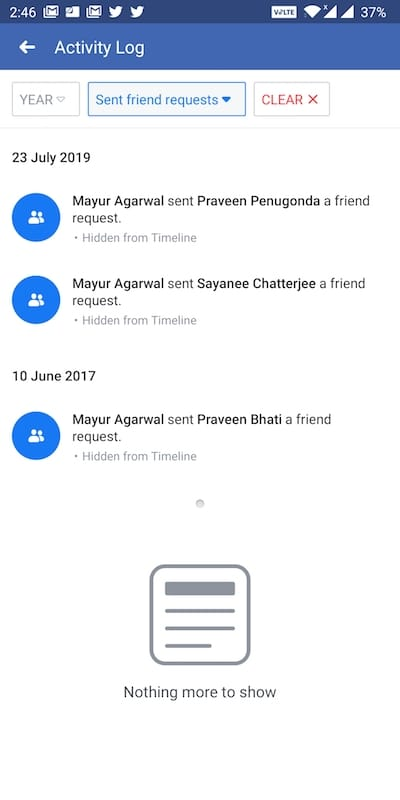see sent friend requests on facebook app