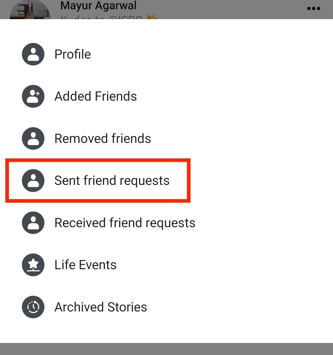 check outgoing friend requests in facebook app