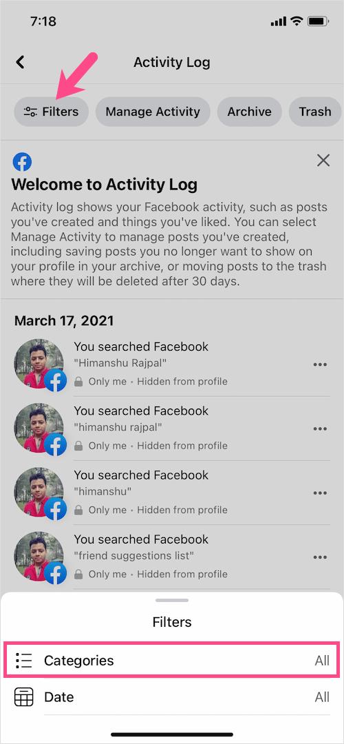 see categories on Facebook app