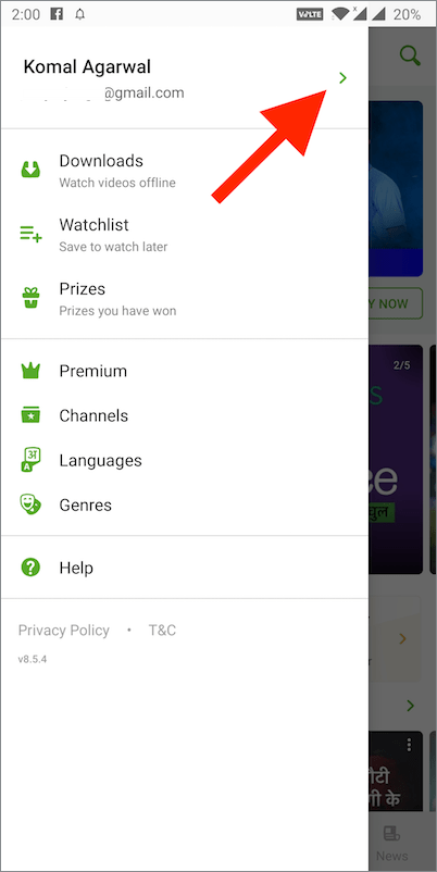 hotstar app menu