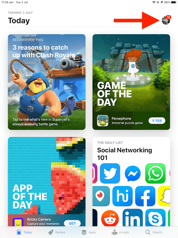 iOS 13 App store with Arcade