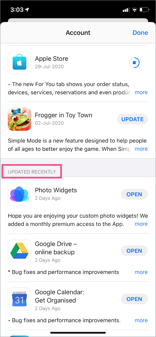 find recently updated apps on ios