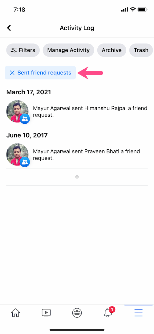 how to see sent friend requests on Facebook app 2021