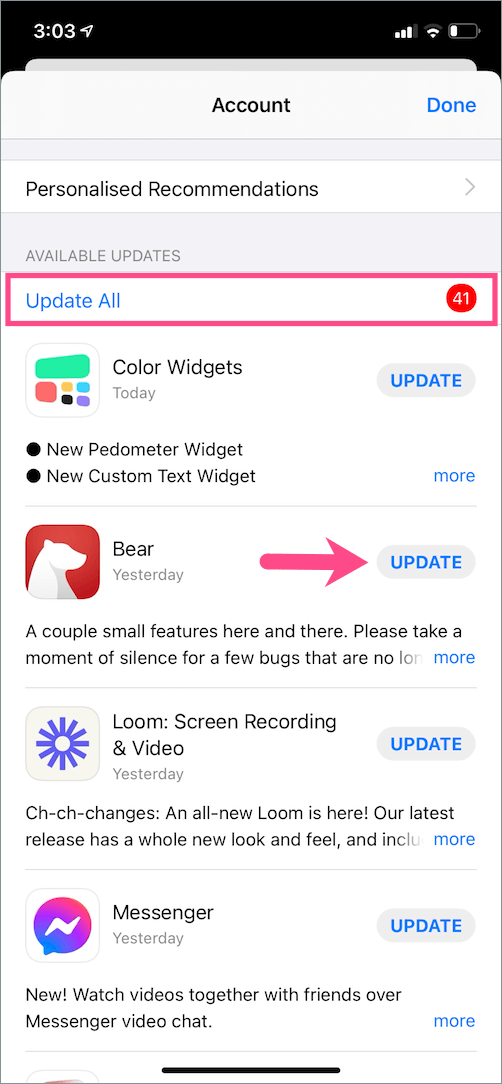 how to update apps on ios 14