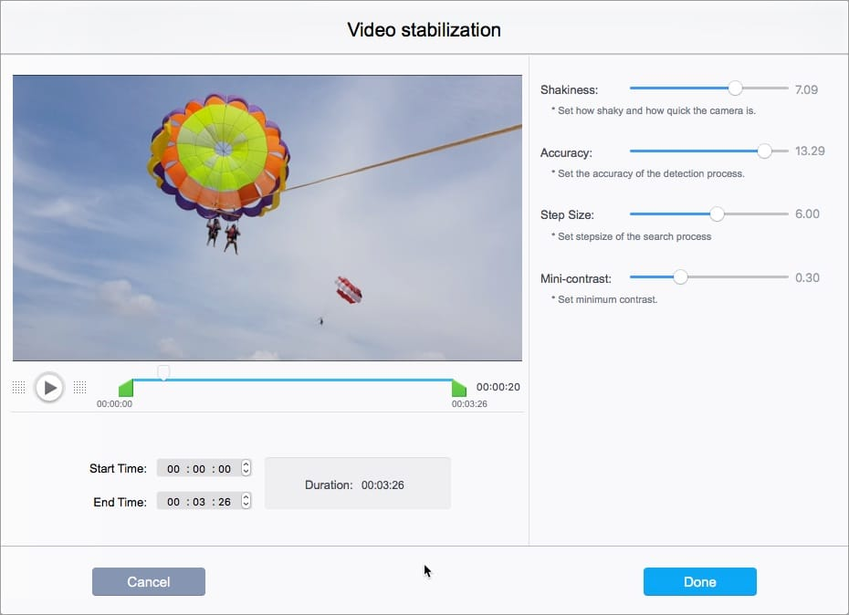 stabilize shaky video footage