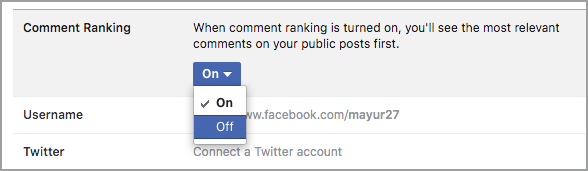 turn off comment ranking in facebook