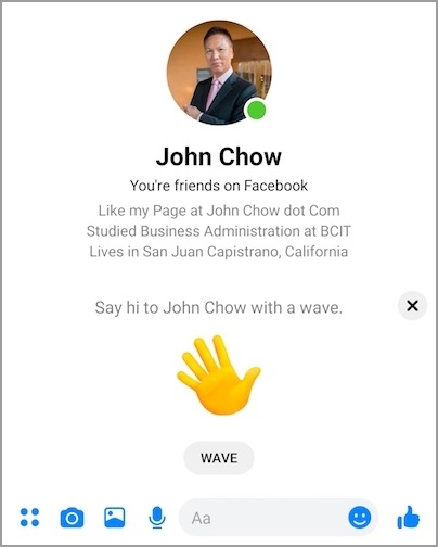 wave on facebook messenger