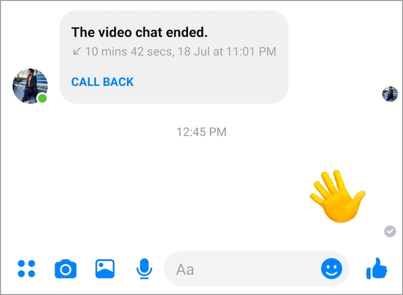 wave message in facebook messenger