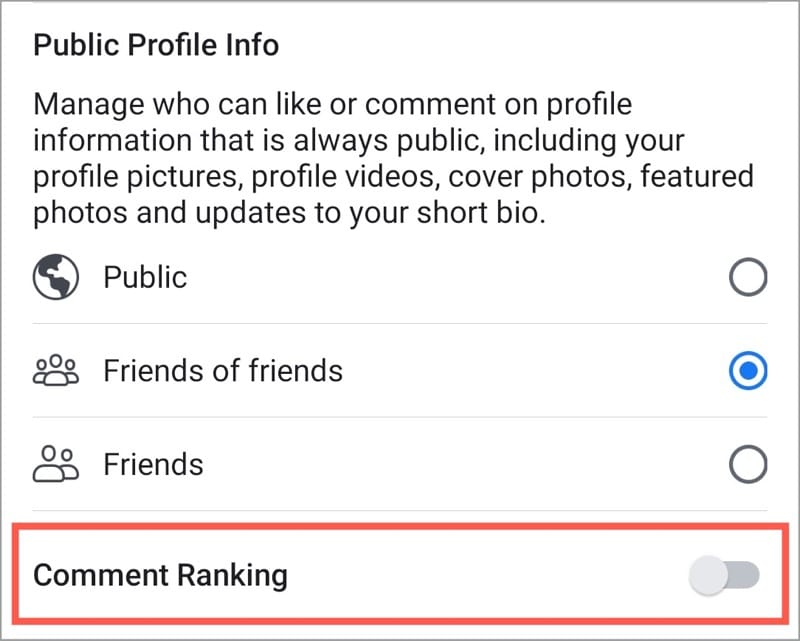 disable comment ranking facebook app
