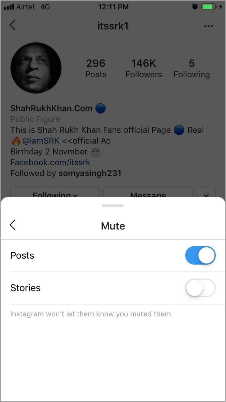 mute instagram posts stories