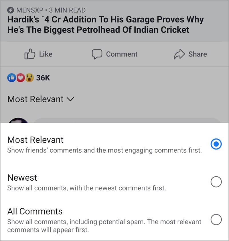 sort comments facebook app