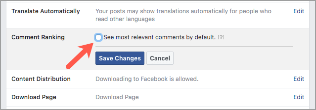 turn off most relevant facebook