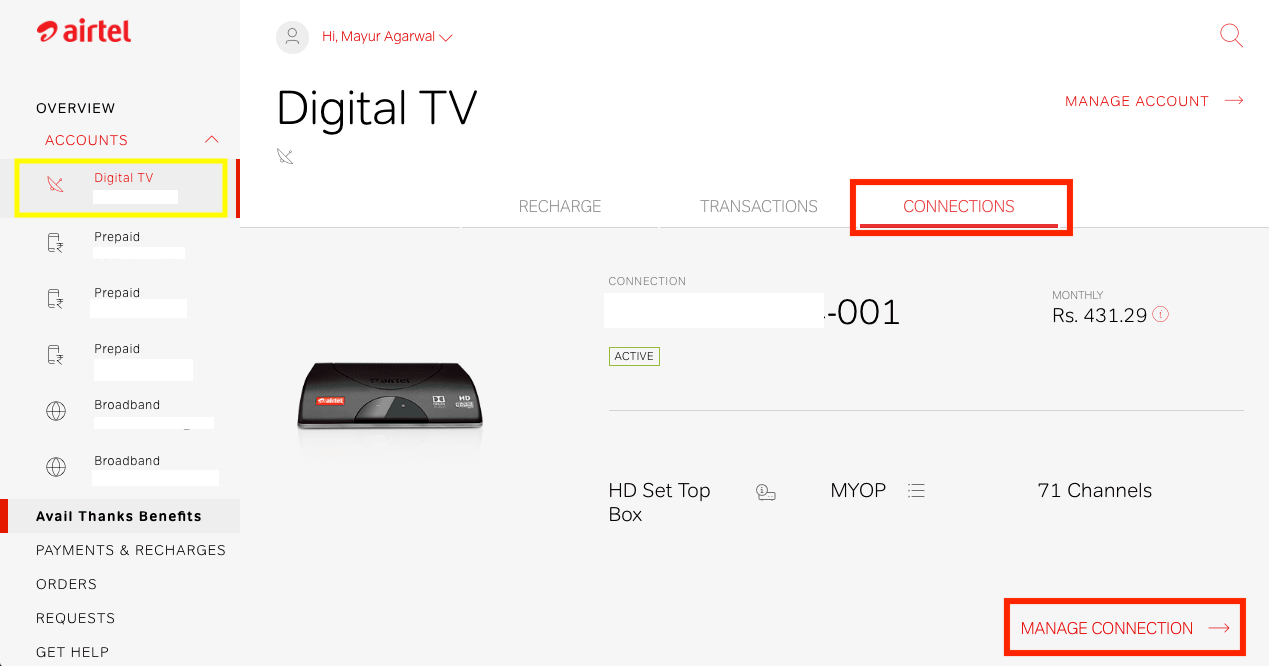 airtel digital tv manage account