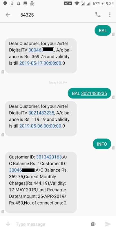 check airtel dth balance