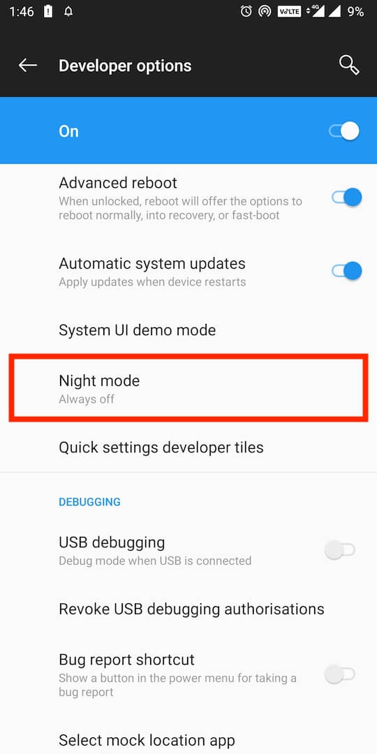night mode in android pie