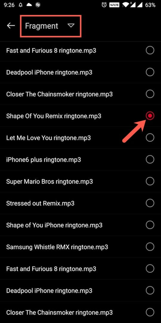 select local ringtone