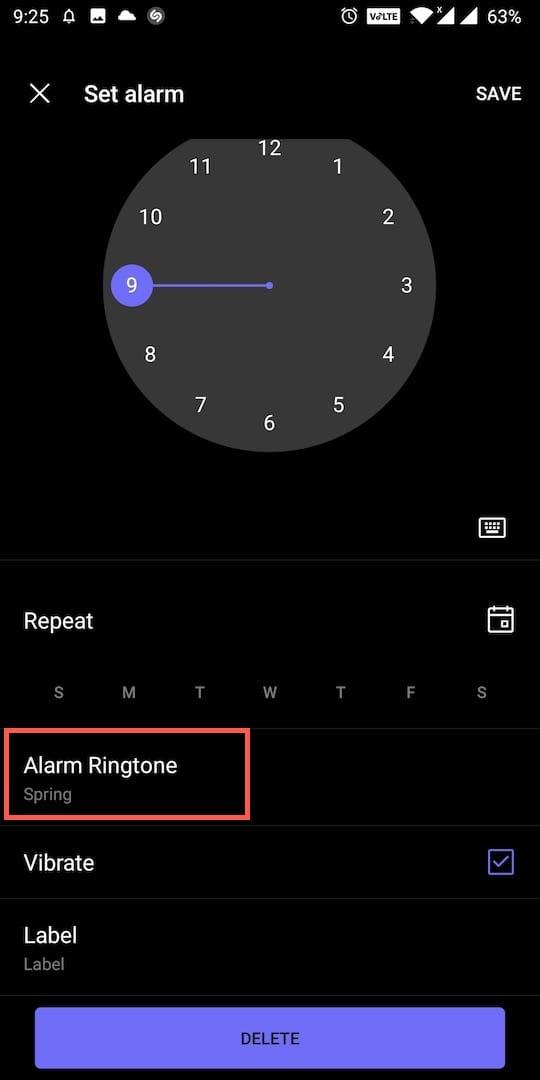 alarm ringtone in oneplus