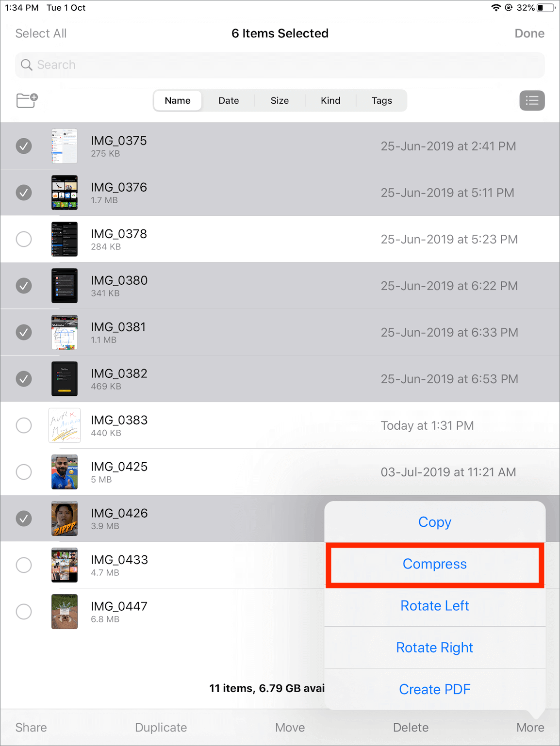 create a zip file of photos on iphone