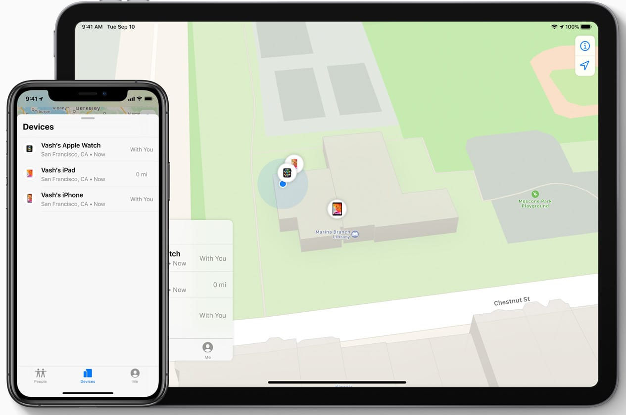 devices in find my app