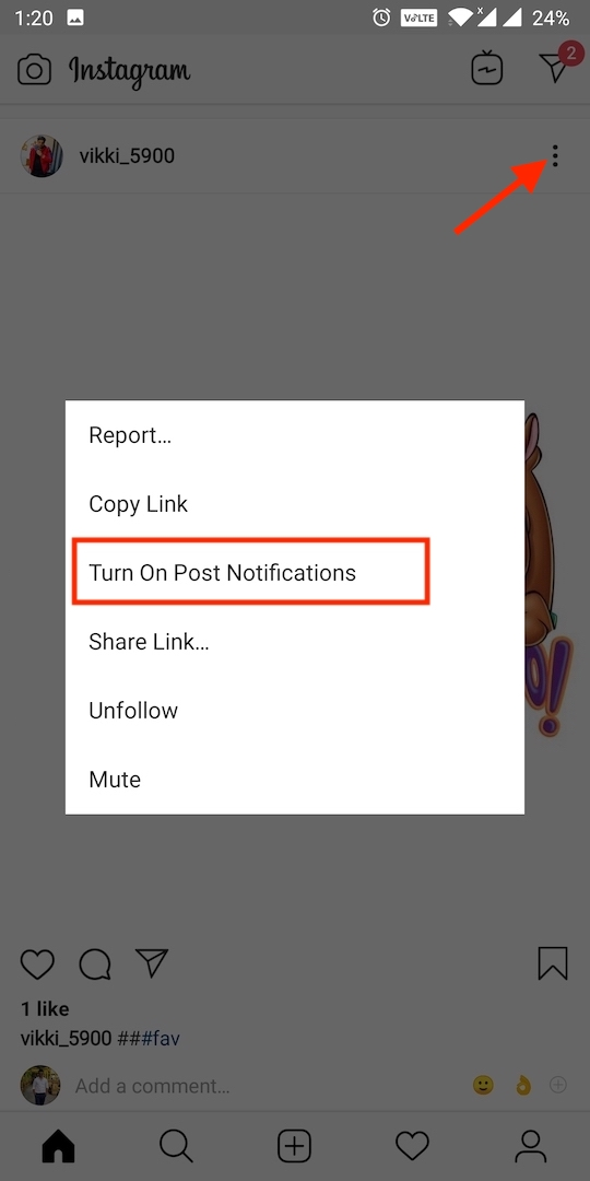 enable instagram post notification for specific people