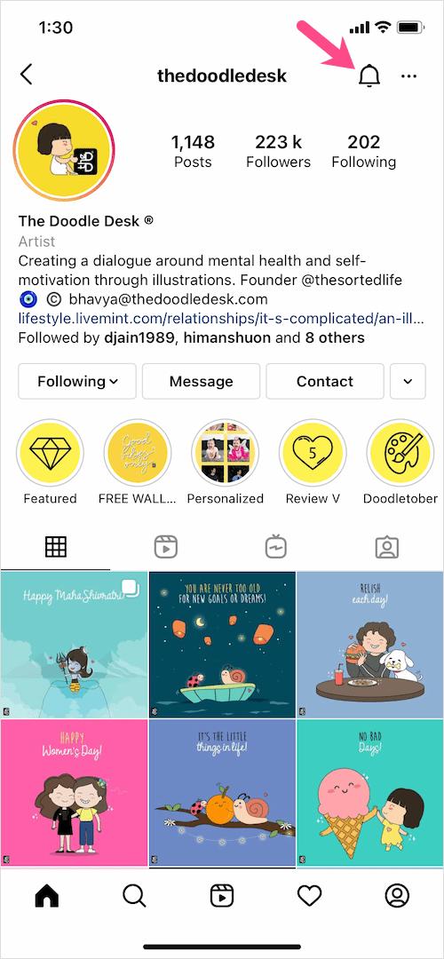 notifications setting on Instagram app 2021