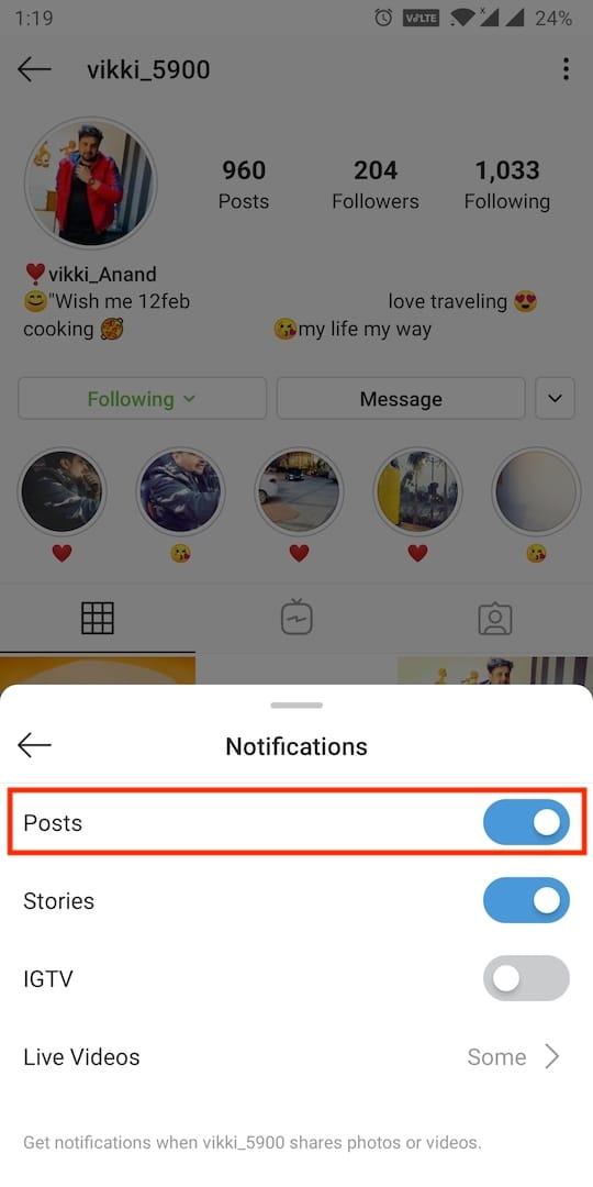 turn on post notifications in instagram app