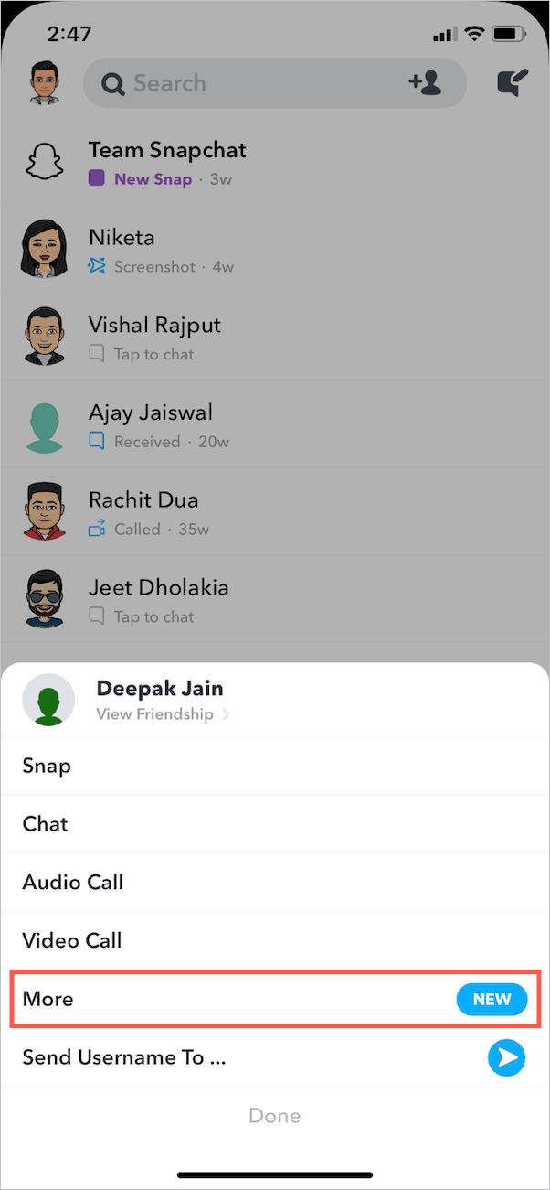 chat options in snapchat