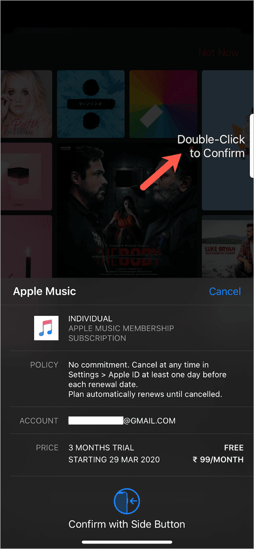 double click to confirm subscription on iphone
