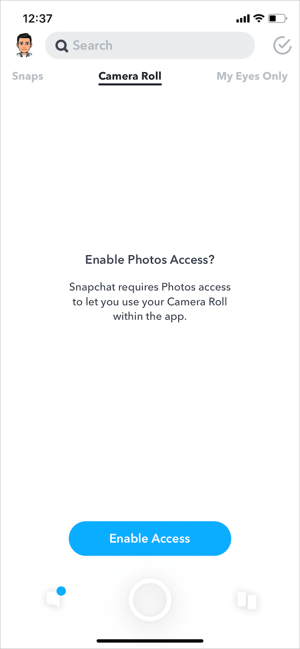 enable photos access for snapchat on iphone