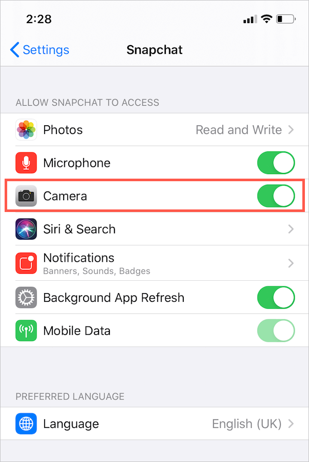 enable camera access for snapchat in ios 13