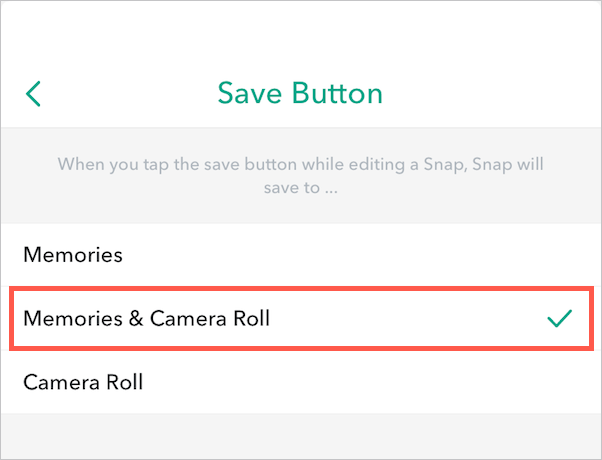 save snapchat snaps to camera roll