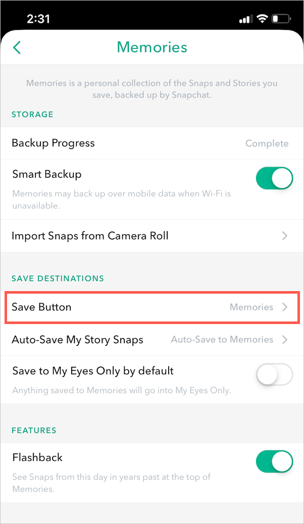 memories save location on snapchat