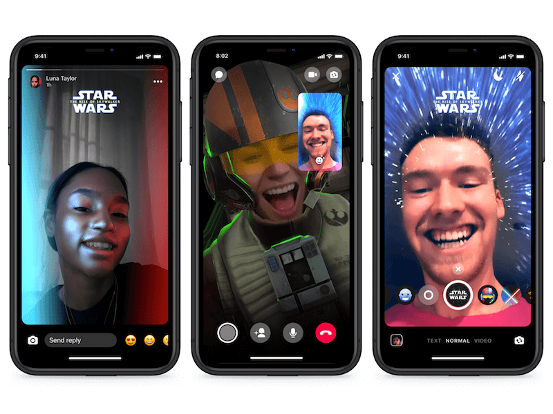 AR effects in star wars theme for messenger