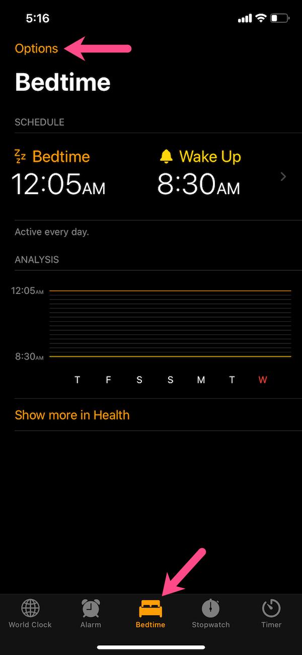 bedtime in clock on ios