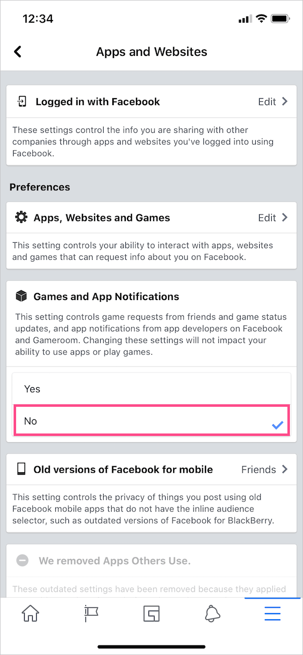 block game requests and invites on facebook app