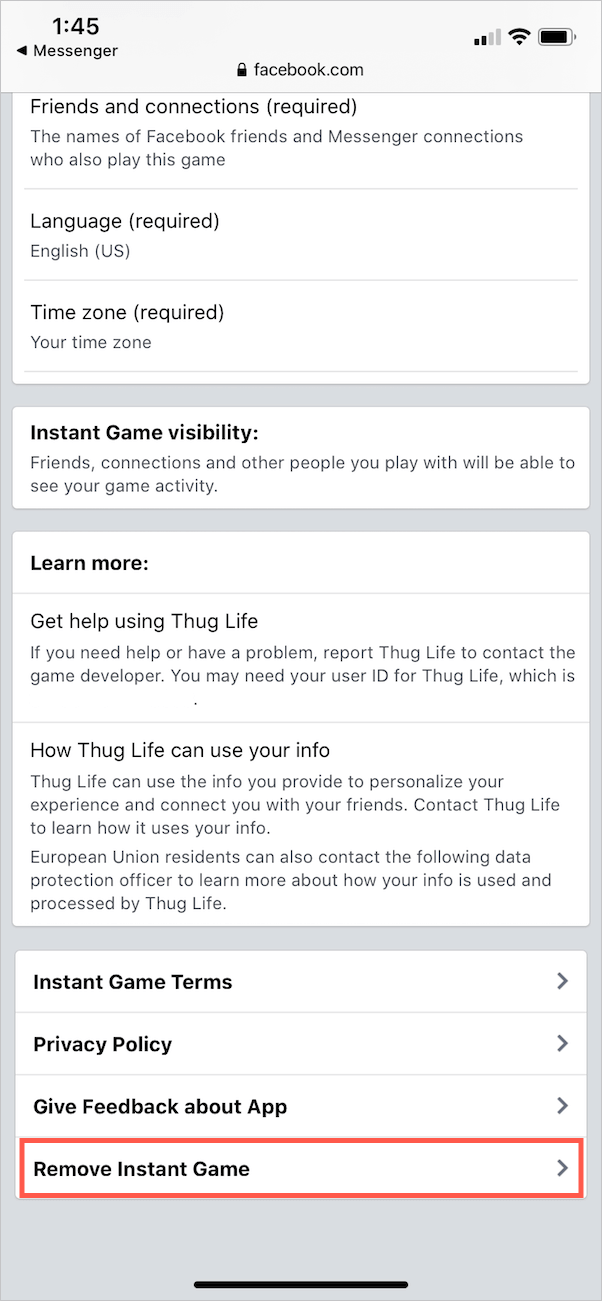 how to delete thug life from facebook